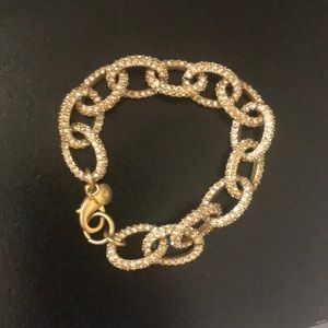 J. Crew Gold and Pave Chain Link Bracelet